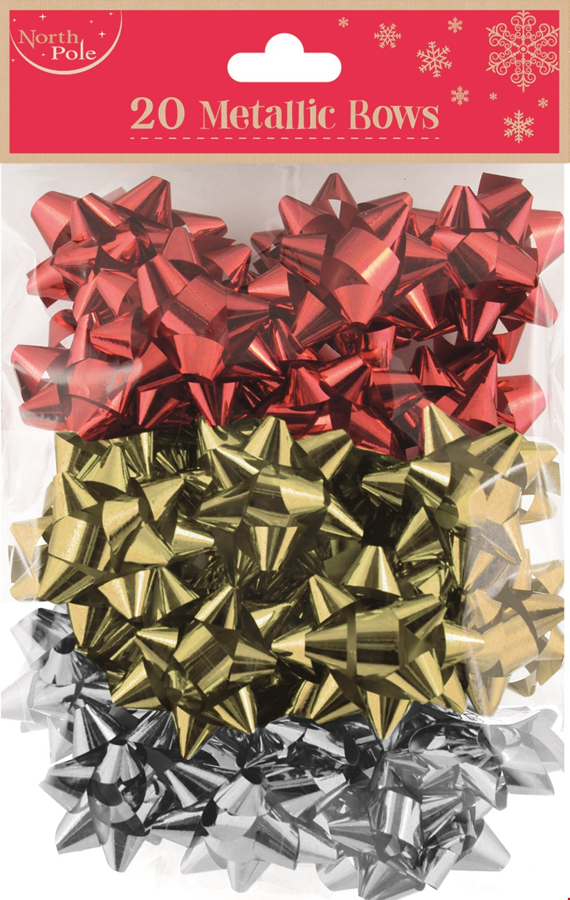20 Metallic Bows assorted