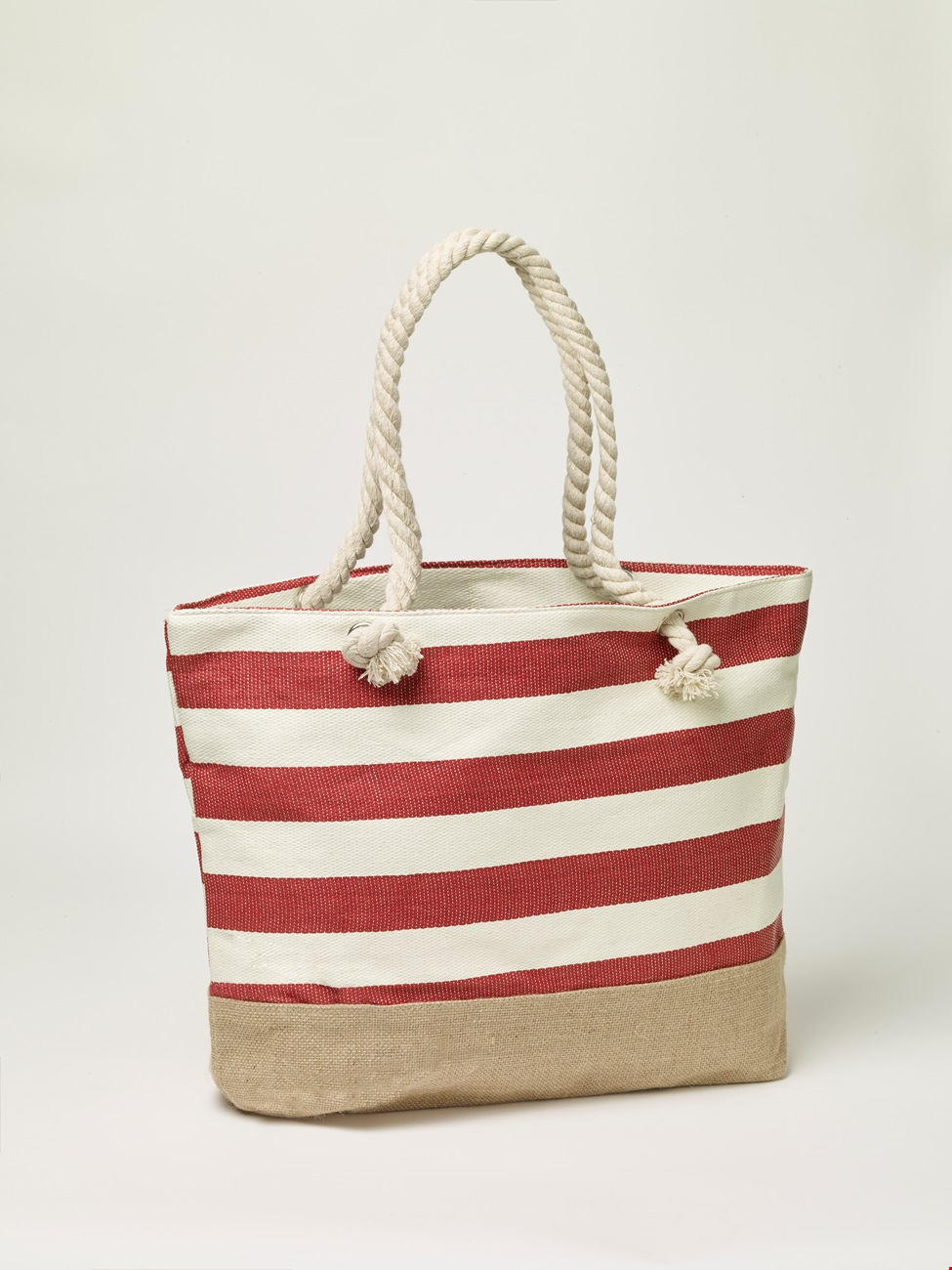 New England Beach Bag - large red stripe