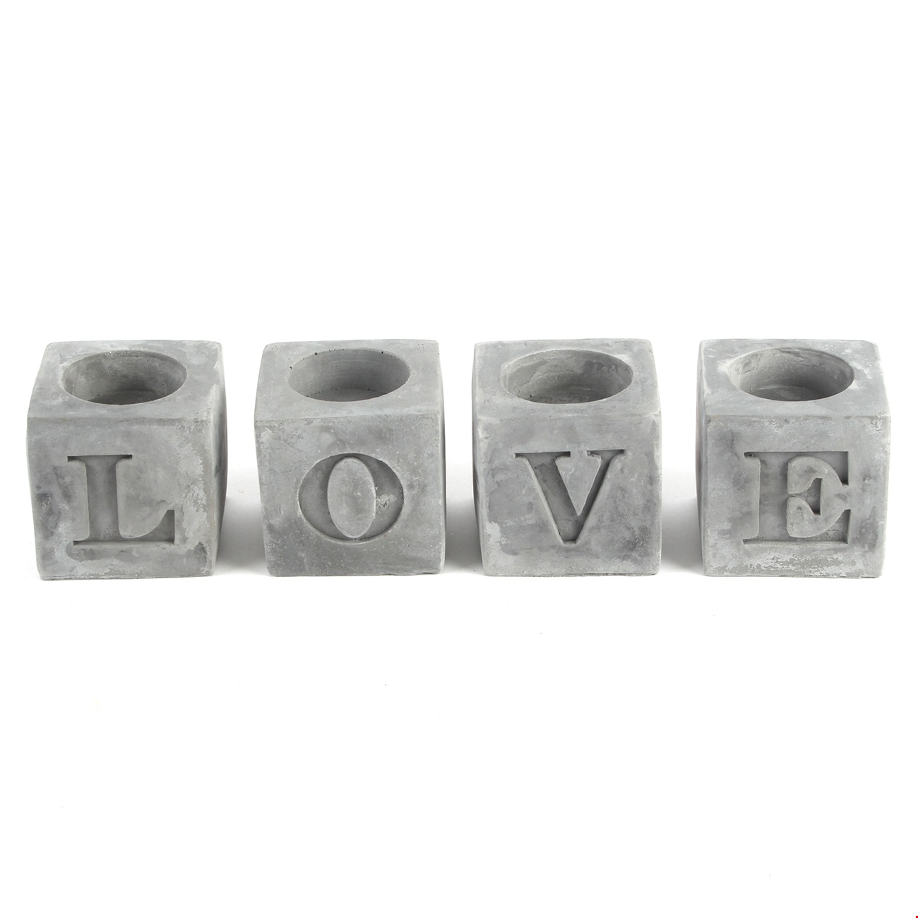 Home Living Set of 4 Tea Light Holders 'Love'