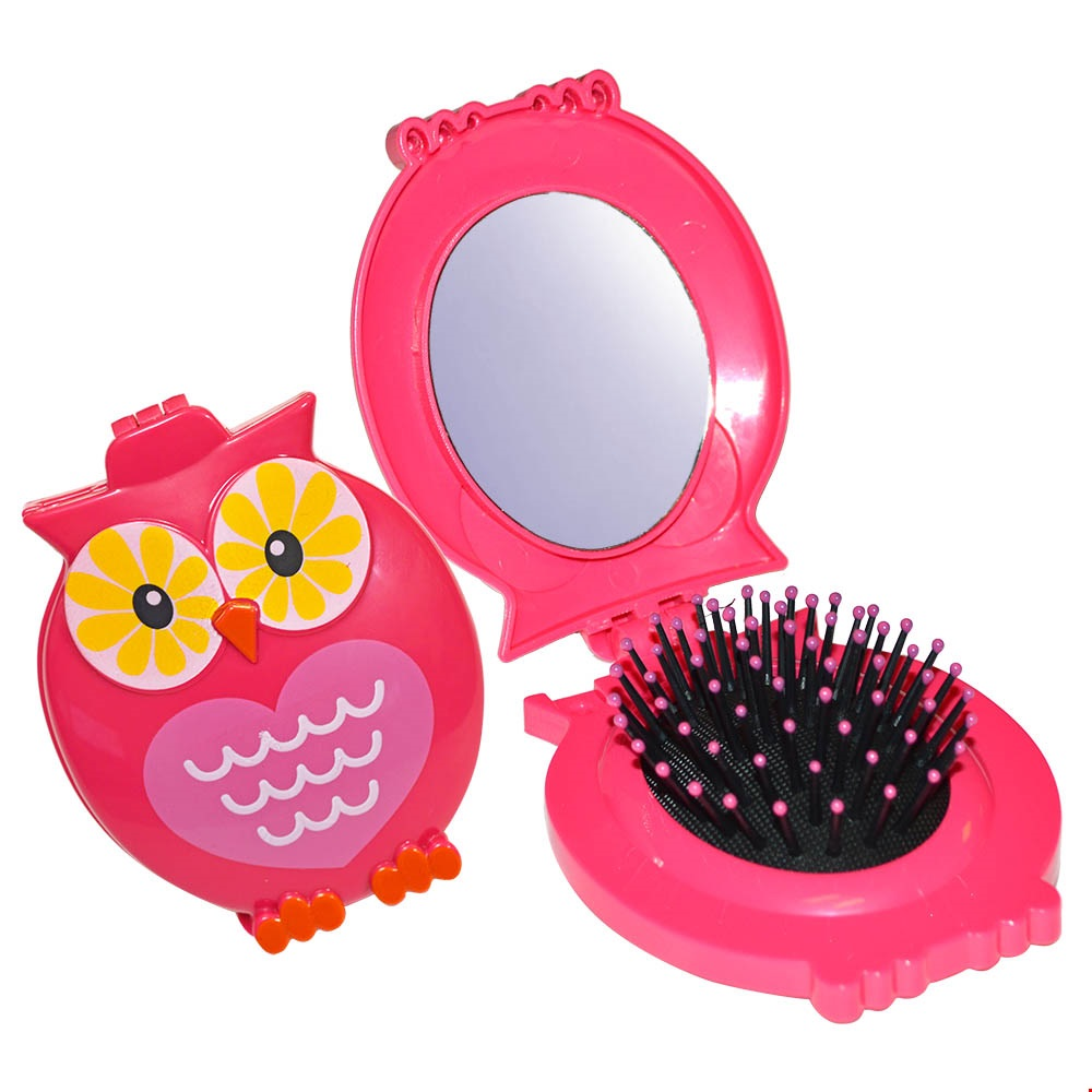 Owl brush and mirror