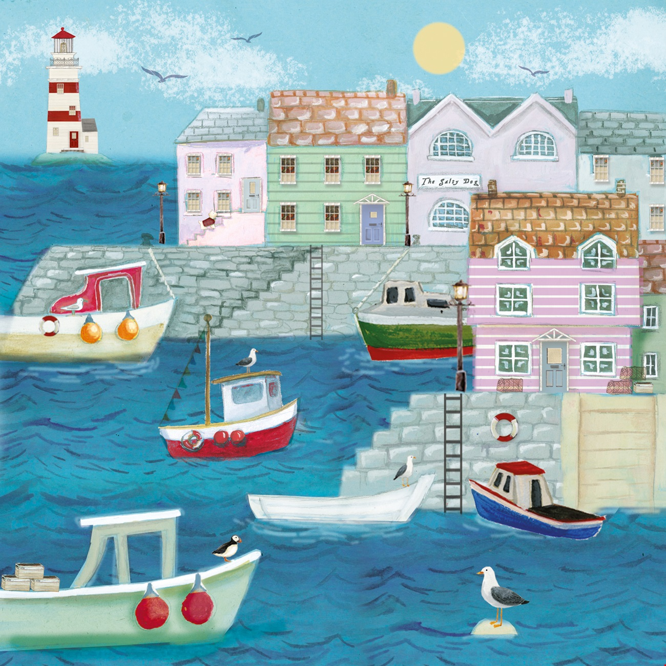 Birthday Greetings Card - Harbour Boats