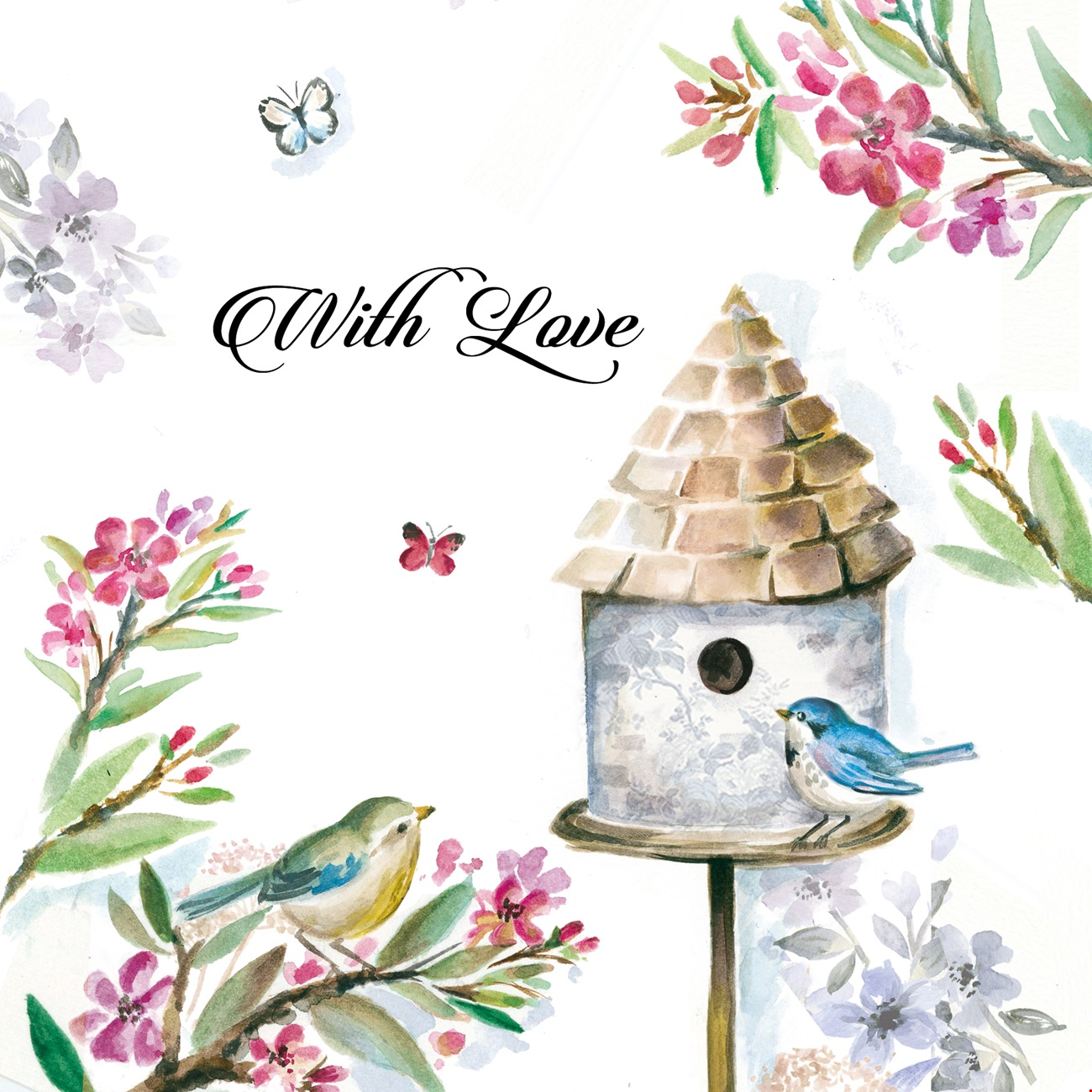Greetings Card With Love- Birdhouse with Flowers