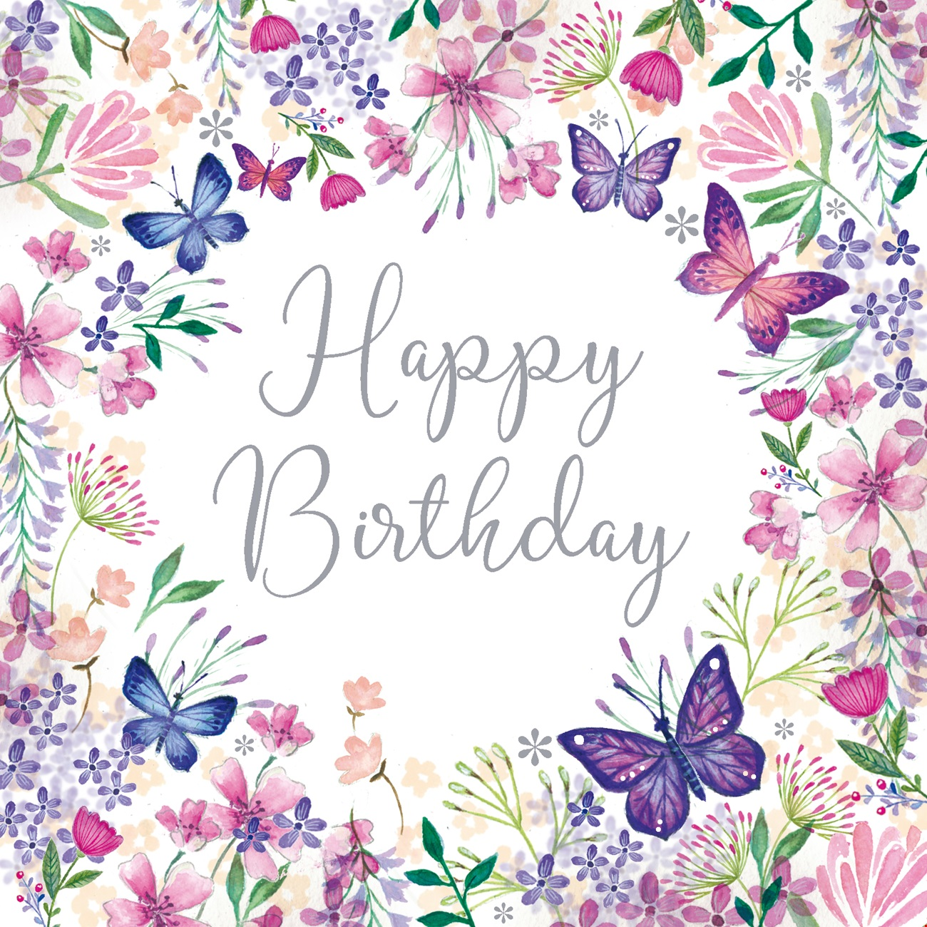 Brithday Greetings Card - Floral Border