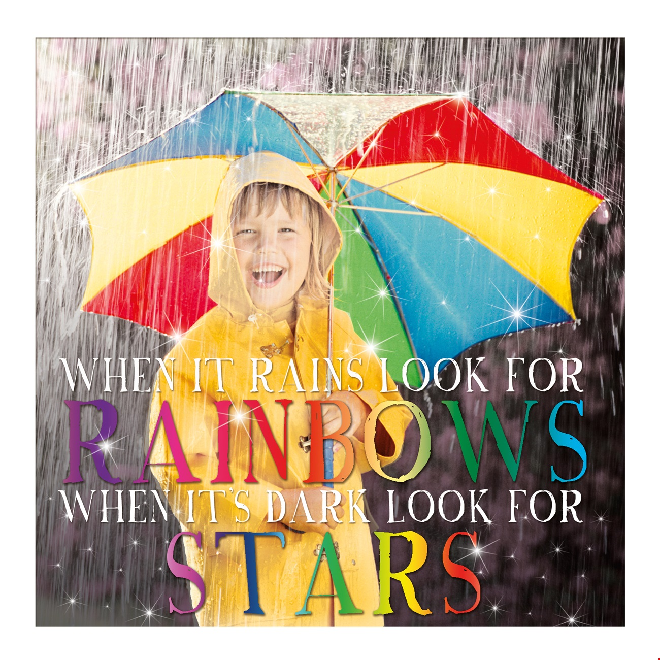 Greetings Card - Rainbows and Stars