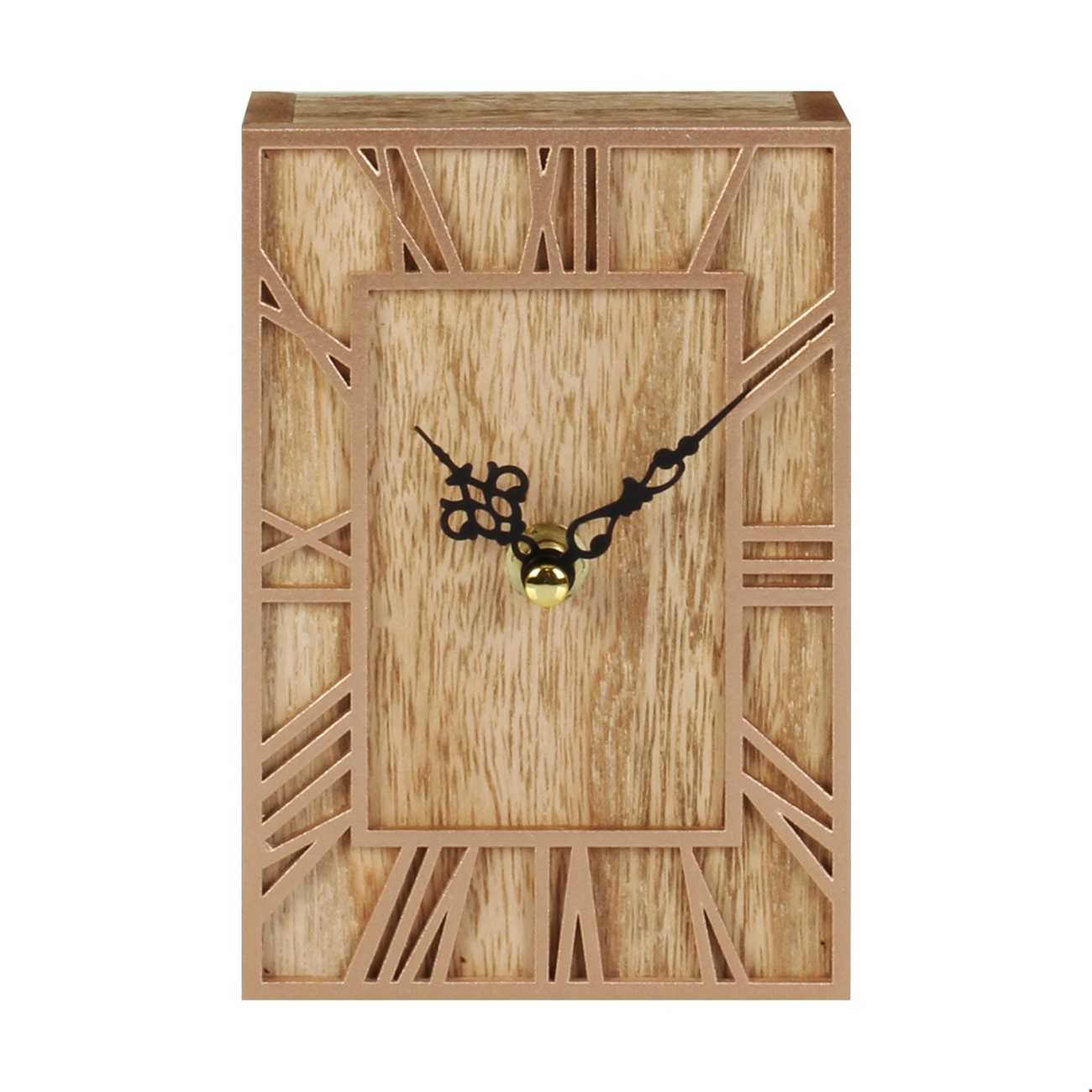 Home Living Rectangle Wooden Mantel Clock 15cm